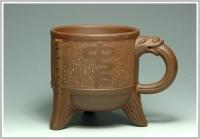 精品杯紫砂壶 三足龙杯 原矿紫泥 - 美壶网