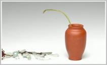 王余平紫砂壶 全手朱泥雅致小鸟花瓶 原矿朱泥 - 美壶网