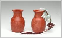 王余平紫砂壶 心经之花瓶  一对 原矿朱泥 - 美壶网
