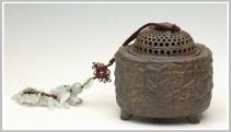 美壶定制紫砂壶 千鸟人参香炉 古铜泥 - 美壶网