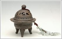 美壶定制紫砂壶 象腿莲花座香炉 古铜泥 - 美壶网