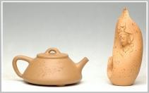 曲峰紫砂壶 全手大段泥石瓢 原矿段泥 - 美壶网