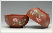 美壶定制紫砂壶 牡丹蝴蝶 点彩 六方品茗杯  - 美壶网