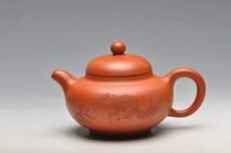 谭华斌紫砂壶  工笔风格 小红泥 柿圆 实用精品 绿茶 铁观音 原矿红泥 - 美壶网