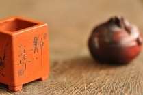 张云熙紫砂壶 朱泥 微型花盆 雅玩精品 藏品 只供欣赏 原矿朱泥 - 美壶网