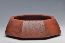 朱牧清紫砂壶 面面是佛 人物线条张弛有力 耐品 全手八方水洗 笔洗 原矿清水泥 - 美壶网