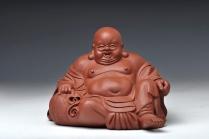 范泉明紫砂壶 栩栩如生 生动形象 坐罗汉 原矿清水泥 - 美壶网