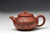 朱牧清紫砂壶 老清水 清韵 随意的竹 颇有玩味 仅1件 原矿清水泥 - 美壶网