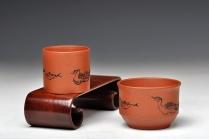 朱牧清紫砂壶 田园情趣 对杯 1大1小 优质降坡泥 原矿降坡泥 - 美壶网