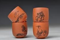 朱牧清紫砂壶 八大风格之 高温小红泥圆亭杯8个 原矿红泥 - 美壶网