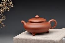 谭华斌紫砂壶 适合绿茶 纤秀可人 三足扁樱 原矿清水泥 - 美壶网