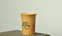 美壶定制紫砂壶 文气 古朴雅致 主人杯 泥绘通景山水 原矿段泥 - 美壶网