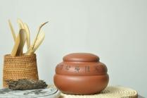 钱伟刚紫砂壶 实用有趣  葫芦茶叶罐 原矿清水泥 - 美壶网