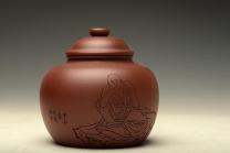 朱牧清紫砂壶 佛缘茶叶罐 原矿清水泥 - 美壶网