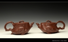 紫砂壶图片:单志萍双色作品 全手精品花器 喜上眉梢 立体梅花 - 美壶网
