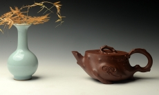 紫砂壶图片:单志萍作品 全手精品花器 喜上眉梢 立体梅花 - 美壶网