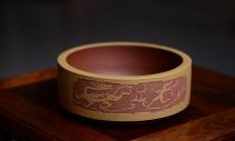 张听钢紫砂壶 茶舍必备 汉风水洗 书香氛围 啄砂装饰 文质相含 原矿清水泥 - 美壶网