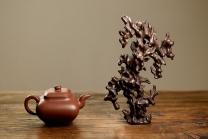 施奇华紫砂壶 手感丰润 造型好玩 全手文房假山 原矿紫泥 - 美壶网