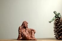 美壶定制紫砂壶 手工雕塑 静~ 自在罗汉 做工精细 廖生塔作品~ 原矿紫泥 - 美壶网