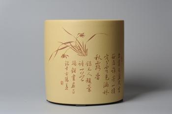 张听钢紫砂壶 素雅 文气 有兰有竹 笔筒 功力精湛  - 美壶网
