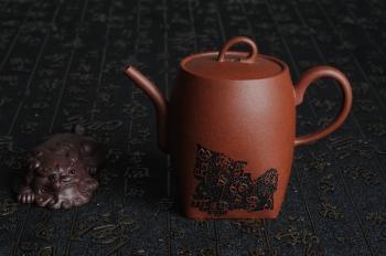 於饶紫砂壶 何瑞精心装饰全手工舍得套组6件套 原矿紫泥 - 美壶网