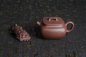 朱立峰紫砂壶 优质紫泥 美壶特惠全手工小四方 泥料油润 一捺底 原矿紫泥 - 美壶网
