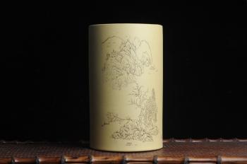 纪岳紫砂壶 美筒特惠 精品山水高帽笔筒四式 得山水清气 极天地大观 老师不打草稿直接空刻 一气呵成 原矿段泥 - 美壶网
