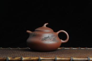 美壶定制紫砂壶 美壶特惠 文气葫芦(福禄)壶 装饰游鱼之乐 原矿紫泥 - 美壶网