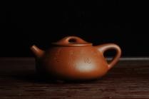 丁慧紫砂壶 优质朱泥全手工刻竹石瓢 天道无亲常与善人 原矿朱泥 - 美壶网