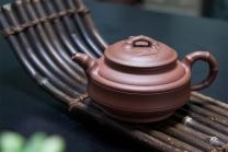 王朝红紫砂壶 双线竹鼓壶  - 美壶网