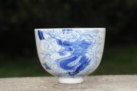 紫砂壶图片:生肖龙 景德镇全手工手绘青花主人杯  - 美壶网
