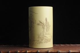 紫砂壶图片:美筒特惠 精品山水高帽笔筒一式 老师不打草稿直接空刻 一气呵成  - 美壶网