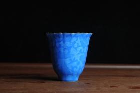 紫砂壶图片:纯手工景德镇摹古雍正蓝色扒花杯 灰常精致 送女友老婆 适合女士 - 美壶网