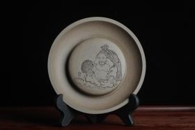 紫砂壶图片:美器特惠 助工精工老青段壶承 干泡台 布袋弥勒 神态细腻 外径大约14.3cm - 美壶网