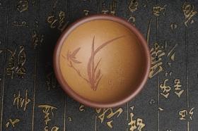 紫砂壶图片:美杯特惠超精工特厚杯重110g 兰草品茗杯 - 美壶网