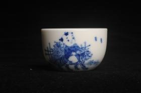 紫砂壶图片:景德镇主人杯 青花杯 童子戏老虎 - 美壶网