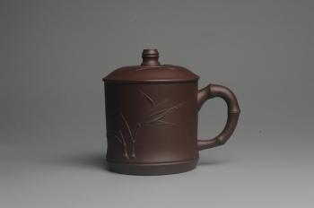 紫砂壶图片:美杯年底特惠 助工精工制作竹节盖杯 自用送礼佳品 - 宜兴紫砂壶网