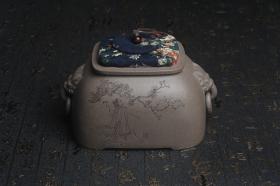 紫砂壶图片:精品特惠 助工老青段精品瑞兽双耳罐 茶仓 茶叶罐 水洗 烟灰缸 松下高士图 - 美壶网