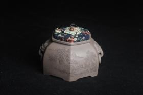 紫砂壶图片:精品特惠 助工老青段精品山水六方瑞兽双耳罐 茶仓 茶叶罐 水洗 - 美壶网