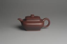 紫砂壶图片:全手工精工小四方虚扁壶 - 美壶网