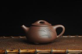 紫砂壶图片:美壶特惠 工料俱佳满瓢(霸王石瓢)装饰兰花 茶人醉爱 - 美壶网
