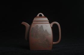 紫砂壶图片:全手工精致汉方壶 装饰山水 特文气 - 美壶网