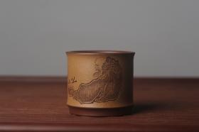 紫砂壶图片:美杯国庆特惠 精品好泥好工好刻雅致特厚实达摩主人杯 茶人醉爱 - 美壶网