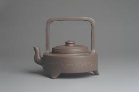 紫砂壶图片:美壶特惠 精致青灰段泥繁星提梁壶 茶人醉爱 - 美壶网