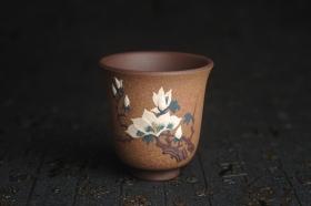 紫砂壶图片:美杯特惠 精致玉兰花文气主人杯 茶人醉爱 - 美壶网